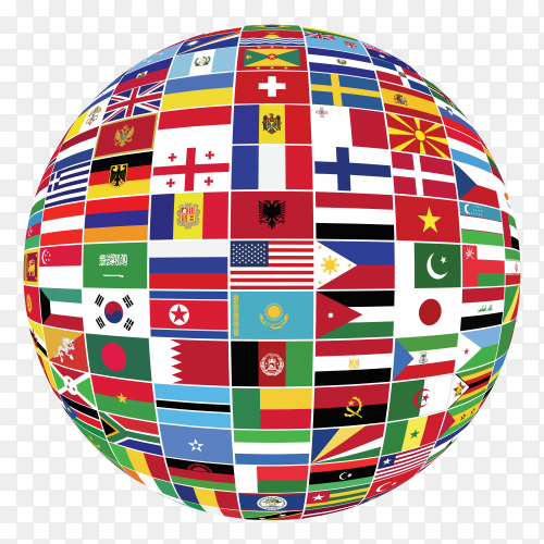 Flags globe on transparent background PNG