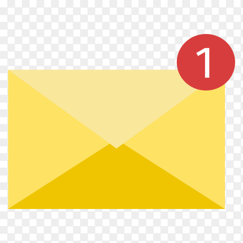 Flat design closed envelope with note paper