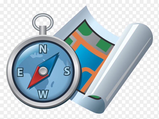 Flat map and  compass on transparent background PNG