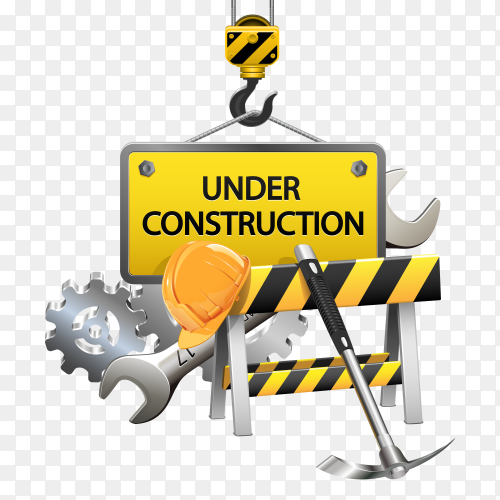 Flat under construction template Premium vector PNG