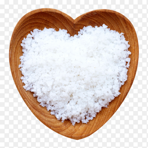 Flower of salt in heart shaped wooden bowl on transparent background  PNG
