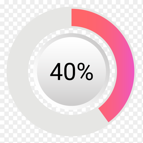Forty percent isolated pie chart on transparent background PNG