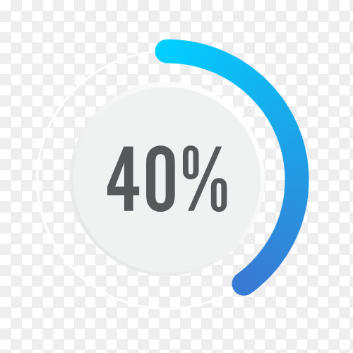 Forty percent blue grey and white pie chart on transparent background PNG