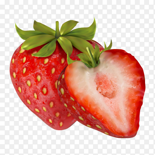 Fresh and tasty Strawberry Premium vector PNG