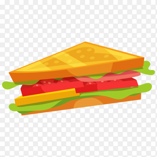 Fresh and tasty sandwitch on transparent background PNG