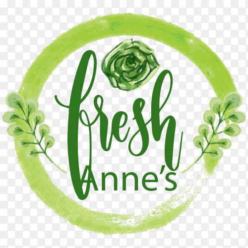 Fresh anne's logo design on transparent background PNG