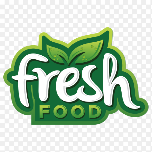 Fresh food logo design on transparent background PNG