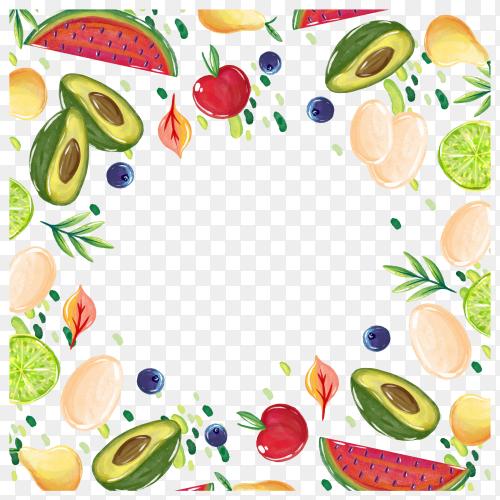 Fresh fruits illustration on transparent background PNG