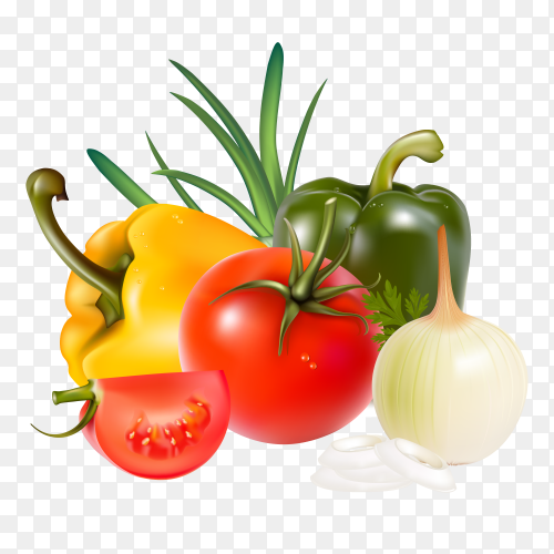 Fresh vegatables on transparent background PNG