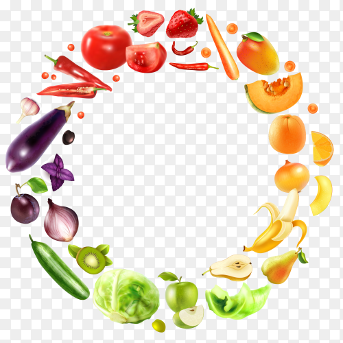 Fresh vegetables and fruits illustration on transparent background PNG
