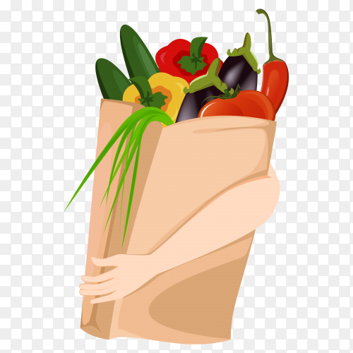 Fresh vegetables on transparent backgound PNG