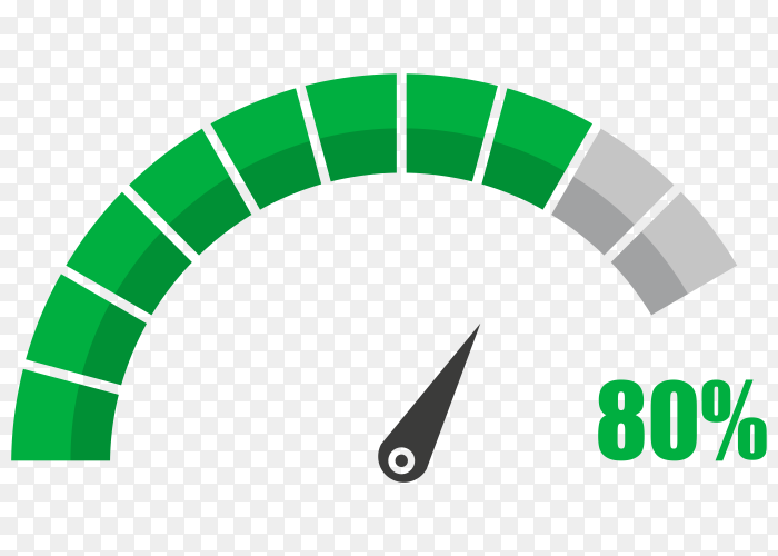 Fuel indicator with eighty hundred percentage vector PNG
