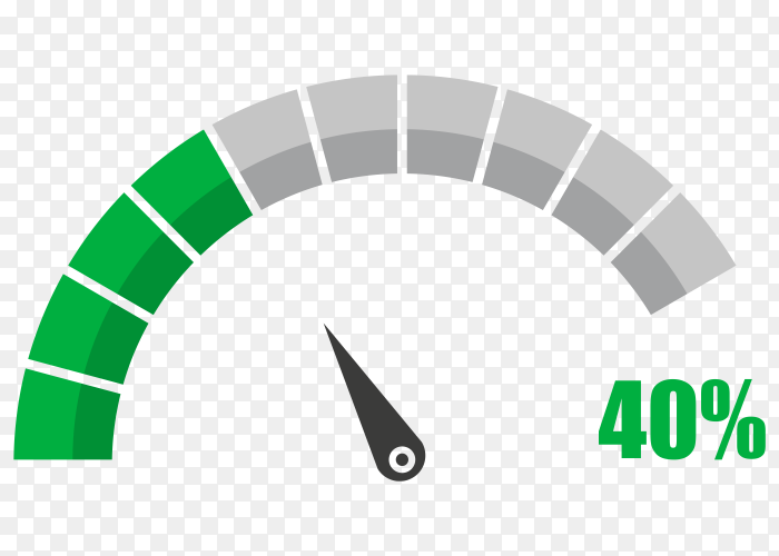 Fuel indicator with forty hundred percentage vector PNG