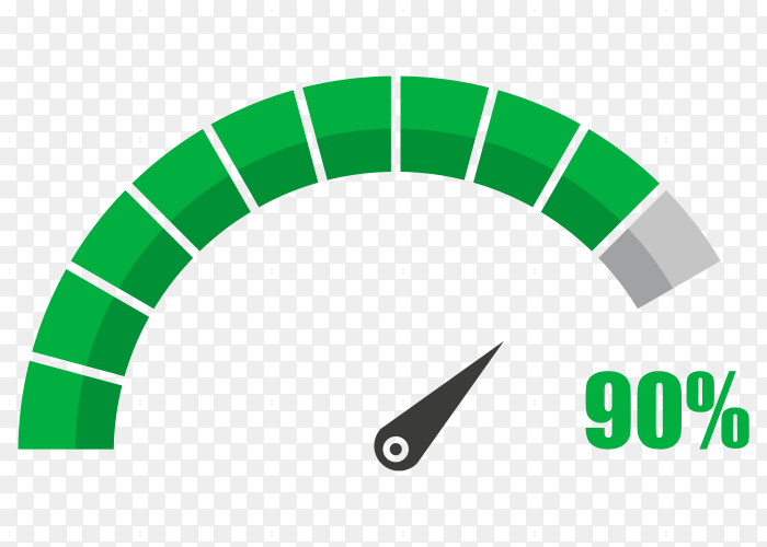 Fuel indicator with ninety hundred percentage vector PNG