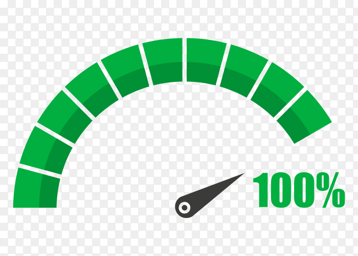 Fuel indicator with one hundred percentage on transparent background PNG