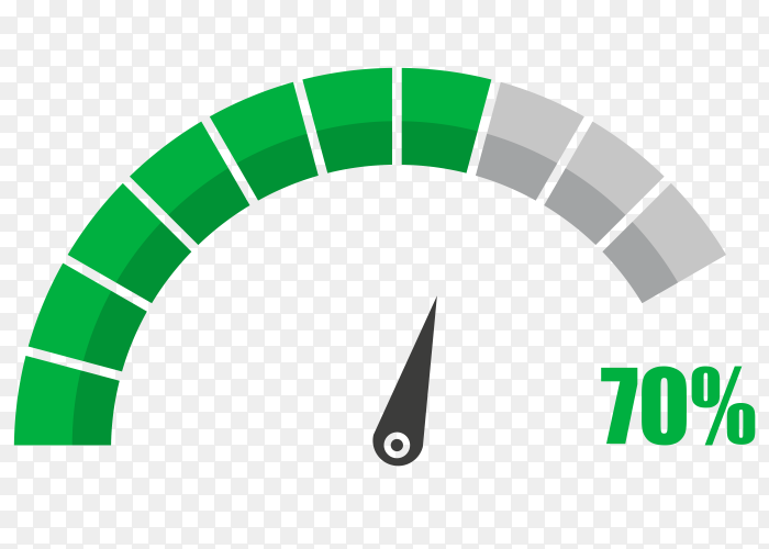 Fuel indicator with seventy hundred percentage vector PNG
