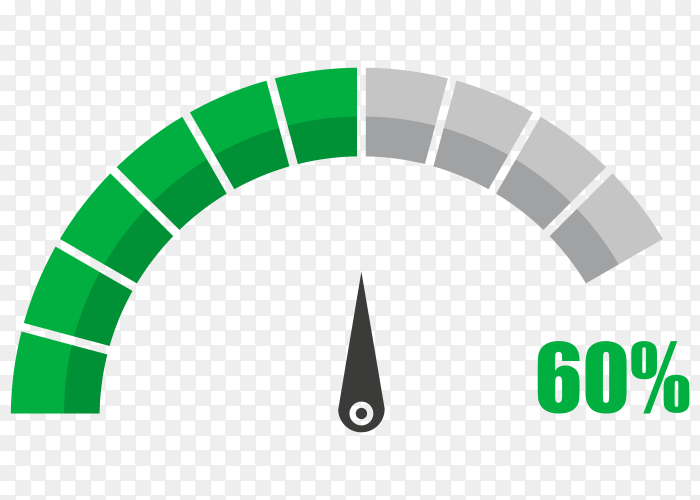 Fuel indicator with sixty hundred percentage vector PNG