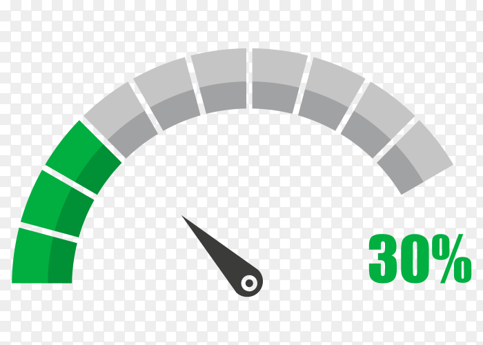Fuel indicator with thirty hundred percentage vector PNG