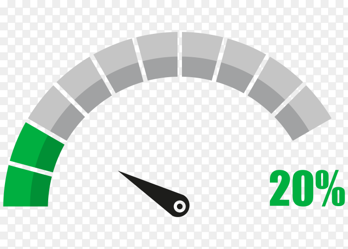Fuel indicator with twenty hundred percentage vector PNG
