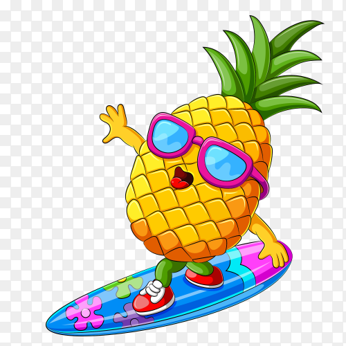 Funny pineapple cartoon surfing vector PNG