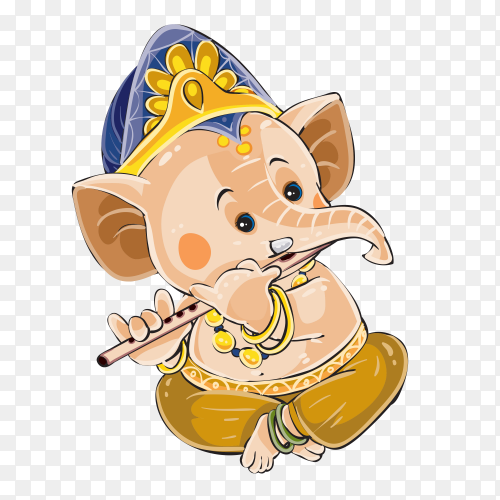 Ganesha elephant cartoon vector illustration for traditional Hindu festival Clipart PNG