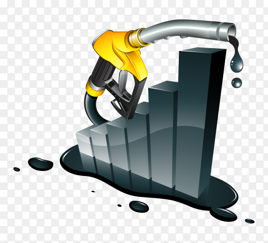 Gas prices going up icon concept on transparent background PNG