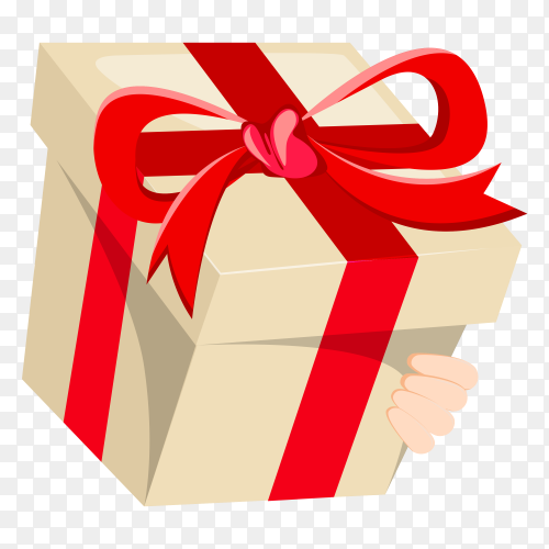 Gift with red Ribbon on transparent background PNG