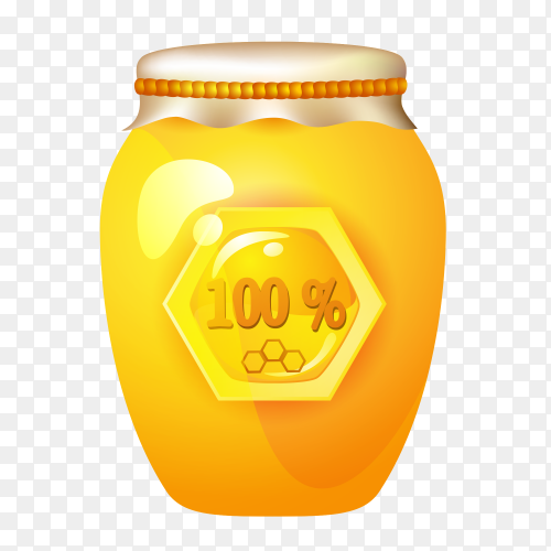 Glass jar with honey on transparent backgroud PNG