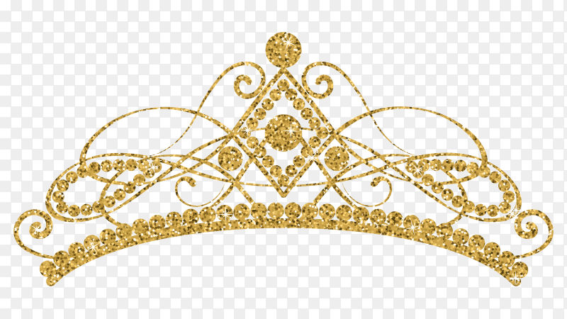 Glittering golden tiara crown on transparent background PNG