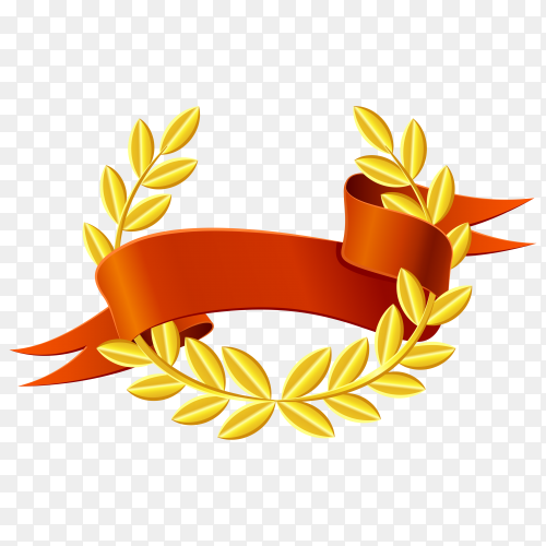 Gold Laurel wreath with Red ribbon vector PNG