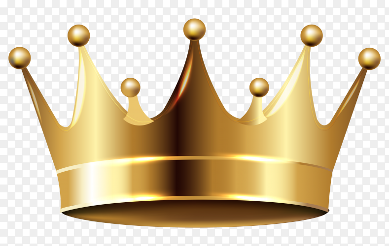 Gold crown on transparent PNG