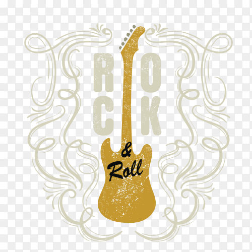 Gold guitar design vector PNG