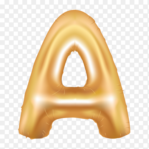 Gold metallic helium alphabet balloon foil letter A on transparent background PNG