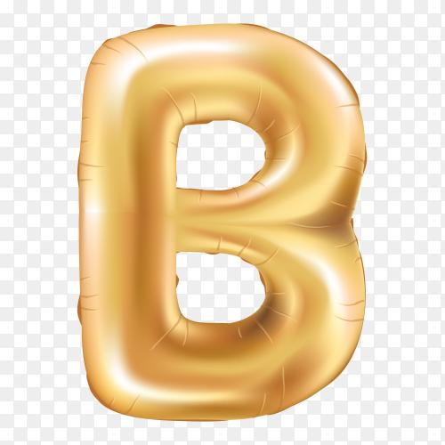 Gold metallic helium alphabet balloon foil letter B on transparet background PNG