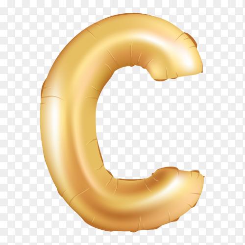 Gold metallic helium alphabet balloon foil letter C on transparent background PNG