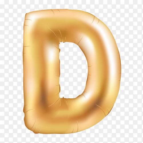 Gold metallic helium alphabet balloon foil letter D Vector PNG
