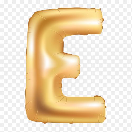 Gold metallic helium alphabet balloon foil letter E Clipart PNG