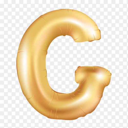 Gold metallic helium alphabet balloon foil letter G on tranparent background PNG