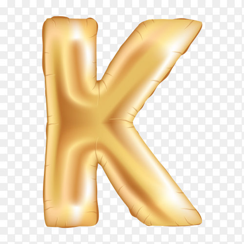 Gold metallic helium alphabet balloon foil letter K on transparent PNG
