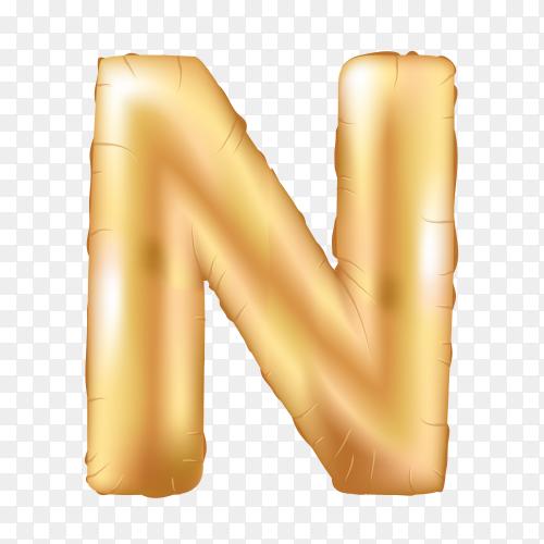 Gold metallic helium alphabet balloon foil letter N Clipart PNG
