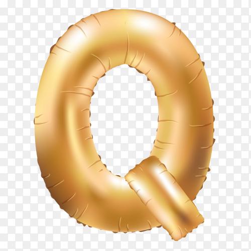 Gold metallic helium alphabet balloon foil letter Q vector PNG
