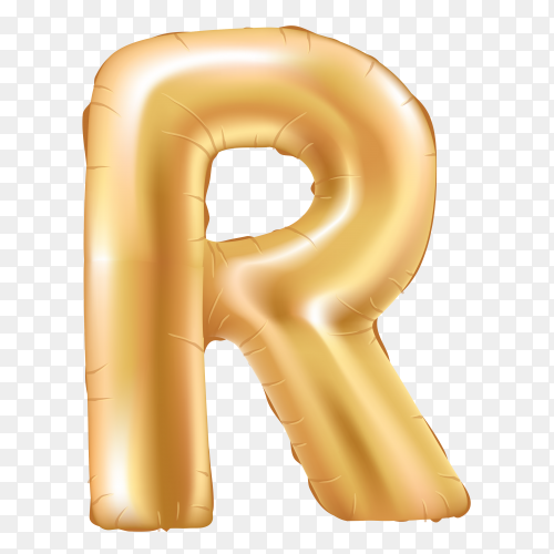 Gold metallic helium alphabet balloon foil letter R Clipart PNG