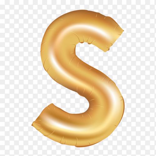 Gold metallic helium alphabet balloon foil letter S Clipart PNG