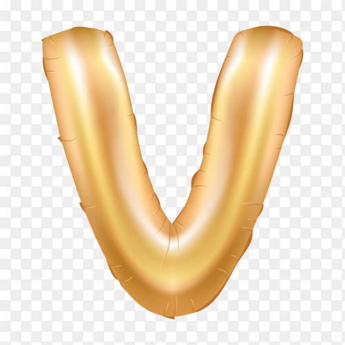 Gold metallic helium alphabet balloon foil letter V on transparent background PNG