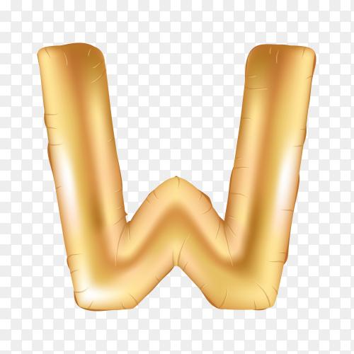 Gold metallic helium alphabet balloon foil letter W on transparent background PNG