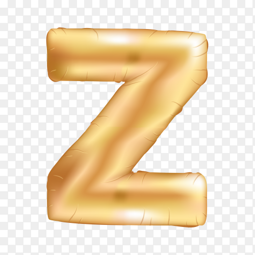 Gold metallic helium alphabet balloon foil letter Z on transparent background PNG