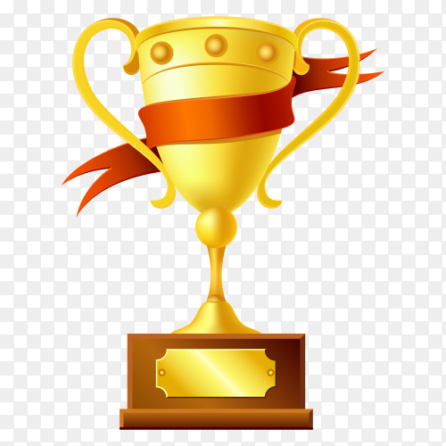 Gold trophy with the name plate of the winner vector PNG