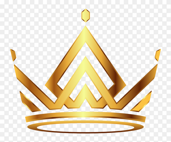 Golden Modern crown icon on transparent background PNG