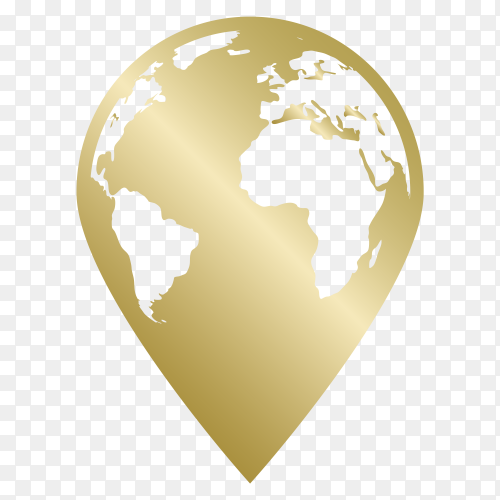 Golden World map formed location icon vector PNG