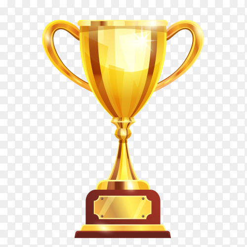 Golden champion cup on transparent background PNG